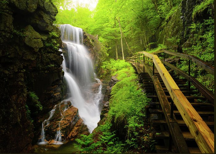 Steps Greeting Card featuring the photograph Water Falls In The Flume by Noppawat Tom Charoensinphon