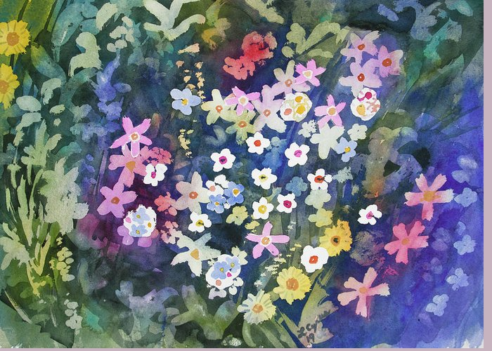 Alpine Greeting Card featuring the painting Watercolor - Alpine Wildflower Design by Cascade Colors