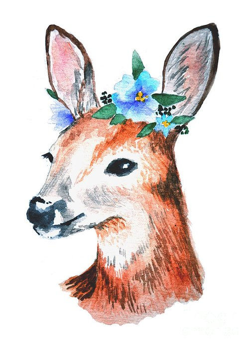 Deer Greeting Card featuring the digital art Watercolor Illustration. Cute Young by Maria Sem