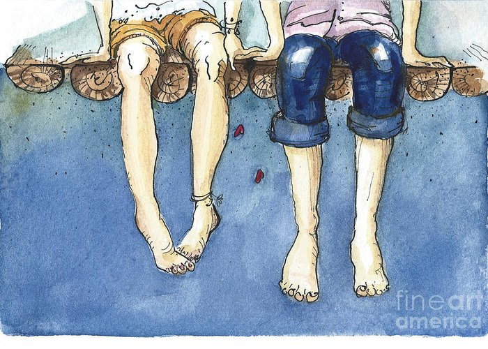 Love Greeting Card featuring the digital art Watercolor Illustration Of A Young by Julia Henze