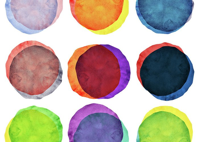 Watercolor Painting Greeting Card featuring the photograph Watercolor Painted Circles Various by Momentousphotovideo
