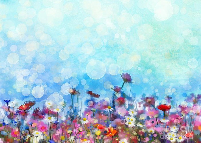 Flora Greeting Card featuring the digital art Watercolor Painting Purple Cosmos by Pluie r