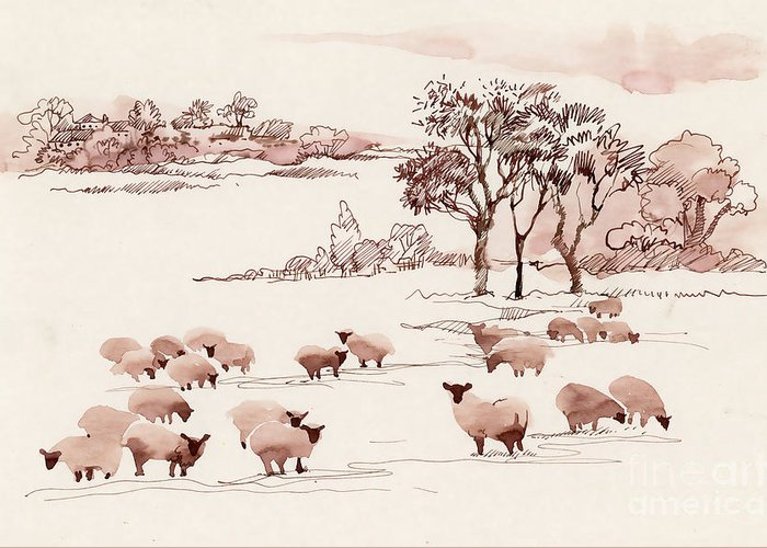 Milch Greeting Card featuring the digital art Watercolor Summer Landscape With Sheep by Kostanproff