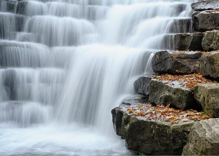 Steps Greeting Card featuring the photograph Waterfall Flowing Over Rock Stair by Catnap72
