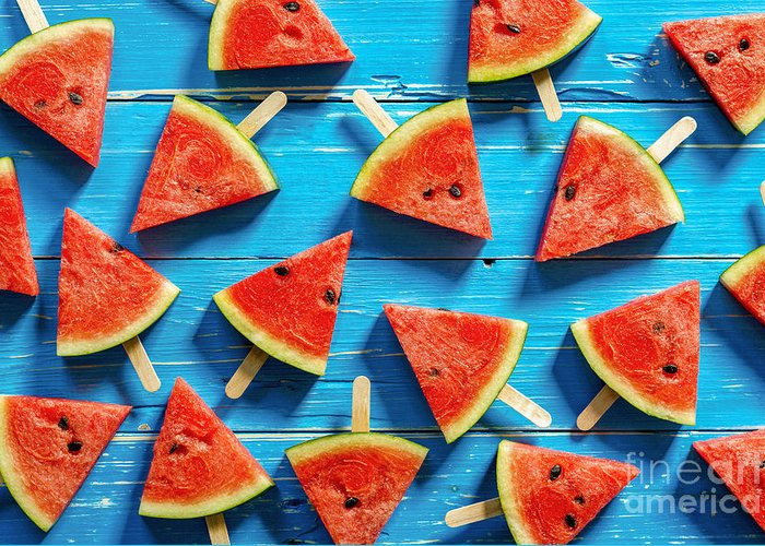 Ice Greeting Card featuring the photograph Watermelon Slice Popsicles On A Blue by I Am Kulz