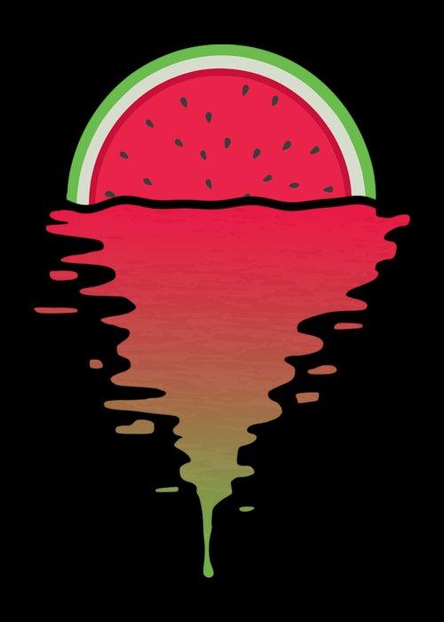 Watermelon Greeting Card featuring the digital art Watermelon Sunset by Filip Schpindel