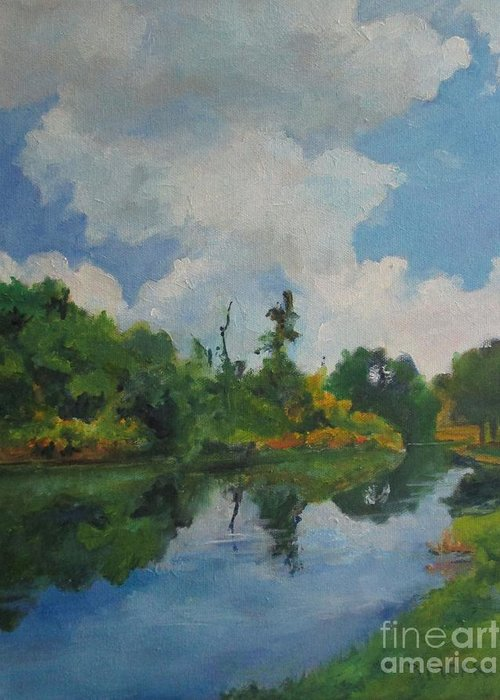 Barbara Moak Greeting Card featuring the painting Waterway At Millennium Garden by Barbara Moak