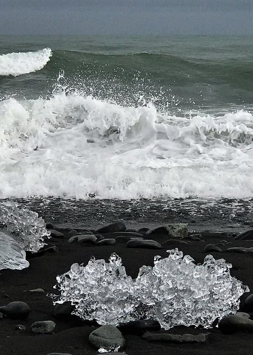 Iceland Greeting Card featuring the photograph Waves And Ice by Norman Burnham