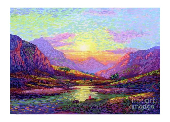 Meditation Greeting Card featuring the painting Waves of Illumination by Jane Small