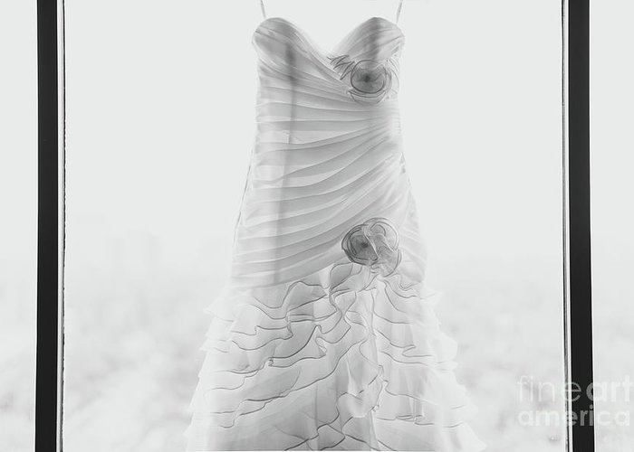 Hanging Greeting Card featuring the photograph Wedding Dress In Black Frame by Matt Corkum