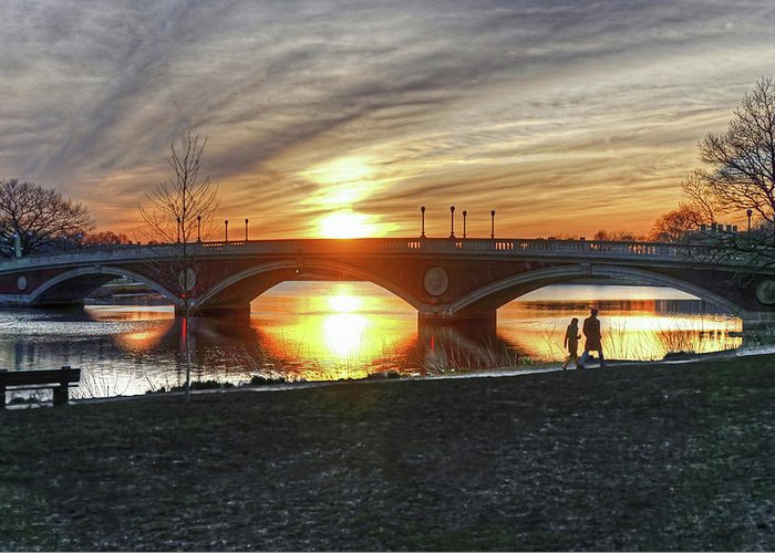 Cambridge Boston Charles River Couple Harvard Allston Sunset Reflection Silhouette Greeting Card featuring the photograph Weeks Bridge At Sunset by Wayne Marshall Chase