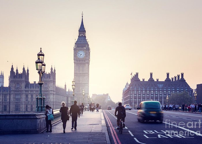 Big Greeting Card featuring the photograph Westminster Bridge At Sunset, London, Uk by Esb Professional