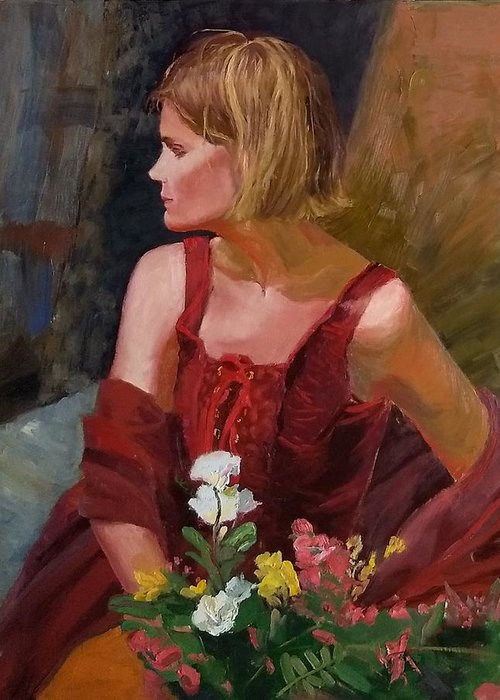 Girl Greeting Card featuring the painting SOLD What About My Flowers by Irena Jablonski