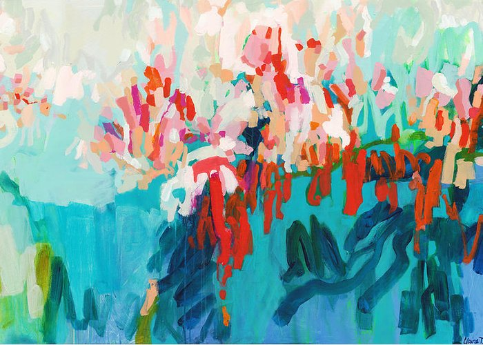 Abstract Greeting Card featuring the painting What Are Those Birds Saying? by Claire Desjardins