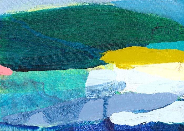 Abstract Greeting Card featuring the painting When Winter Melts Away by Claire Desjardins