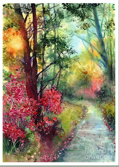 Nature Greeting Card featuring the painting Where Do We Go by Suzann Sines
