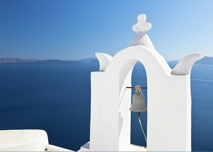Greek Culture Greeting Card featuring the photograph White Bell Tower And Blue Sea by Michaelutech