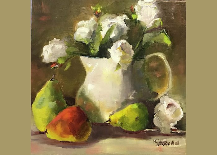 Greeting Card featuring the painting White Roses And Pears by Karen Jordan