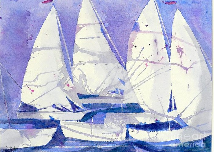 Sailboats Greeting Card featuring the painting White Sails by Midge Pippel