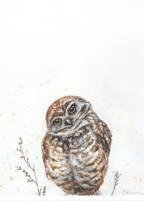 Little Owl Greeting Card featuring the painting Who's Asking? by Tahirih Goffic