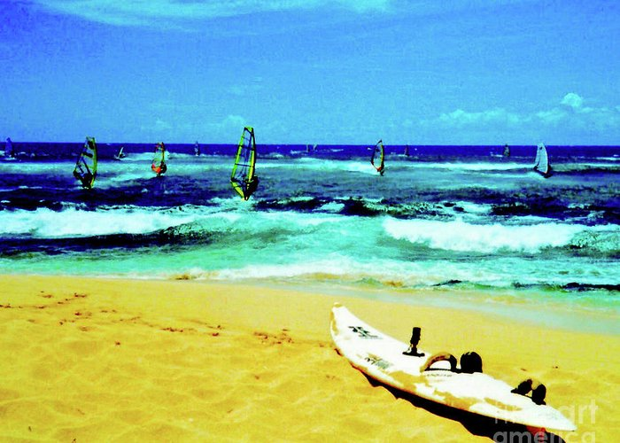 Windsurfing Greeting Card featuring the photograph Windsurfing by Jerome Stumphauzer
