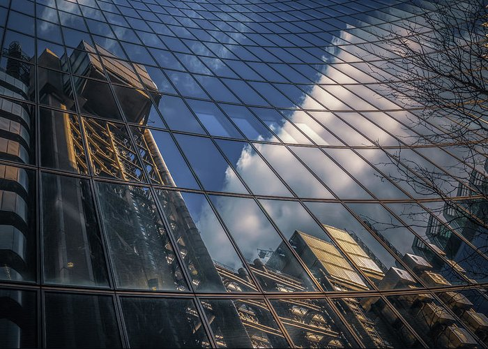 Architecture Greeting Card featuring the photograph Willis Building Reflections No 3 by Chris Fletcher