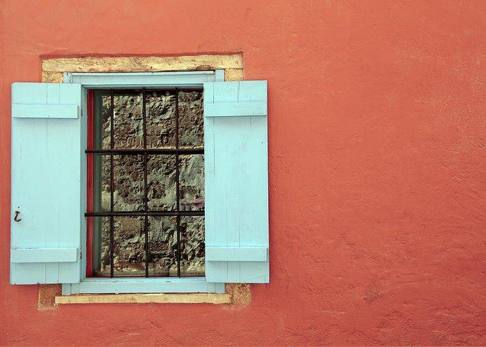 Greece Greeting Card featuring the photograph Window by Maria Toutoudaki