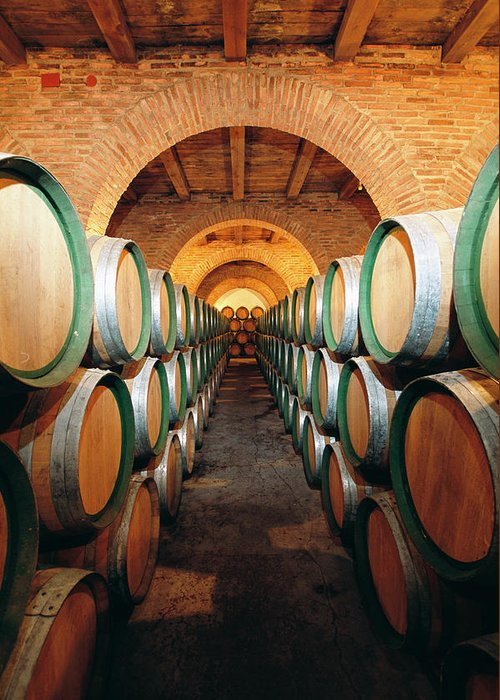 Working Greeting Card featuring the photograph Wine Barrels In Cellar, Spain by Johner Images