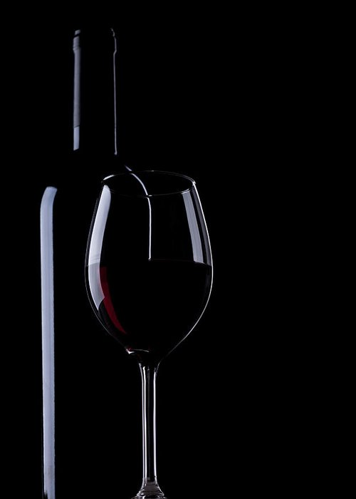 Curve Greeting Card featuring the photograph Wine Bottle And Glass by Portishead1