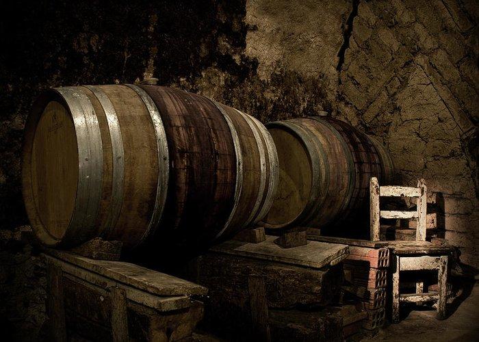 Fermenting Greeting Card featuring the photograph Wine Cellar by Fotografias De Rodolfo Velasco