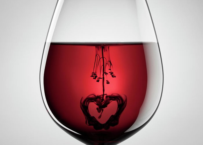 Mixing Greeting Card featuring the photograph Wineglass, Red Wine, Black Ink And by Thomasvogel