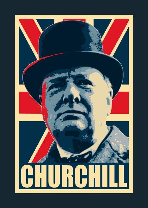Winston Churchill Greeting Card featuring the digital art Winston Churchill Propaganda by Filip Hellman
