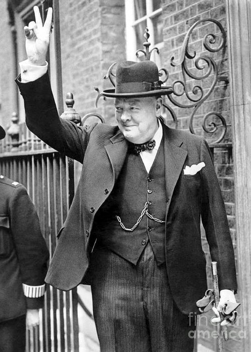 Churchill Greeting Card featuring the photograph Winston Churchill Showing The V Sign by English School