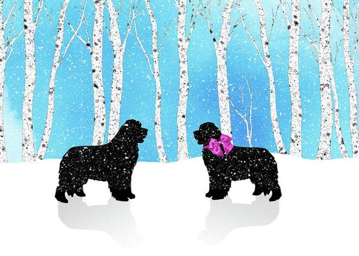 Newf Greeting Card featuring the digital art Winter Romance by Christine Mullis
