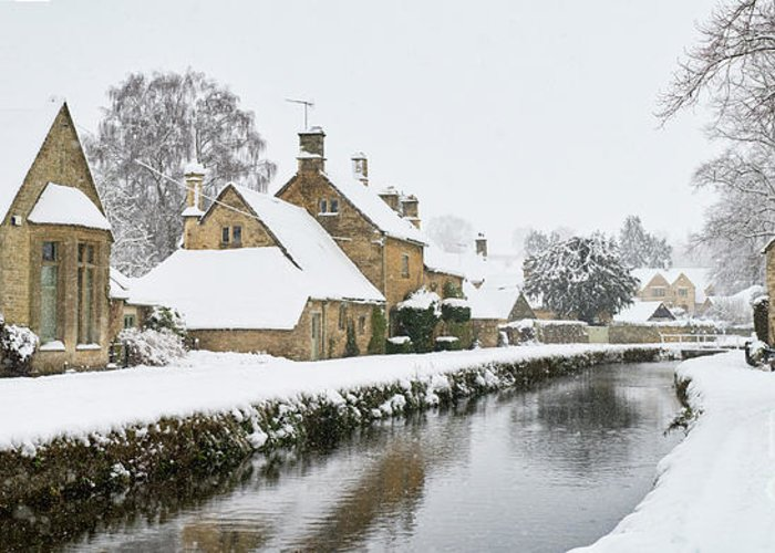 Lower Slaughter Greeting Card featuring the photograph Winter Snow In Lower Slaughter Village Panoramic by Tim Gainey