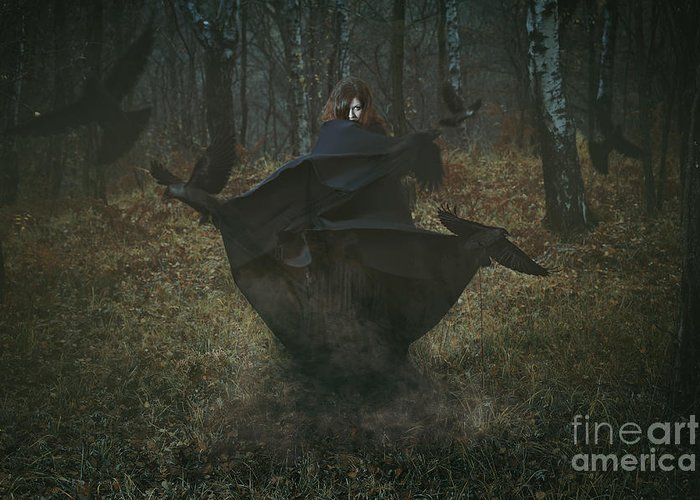 Magic Greeting Card featuring the photograph Witch Of The Forest With Her Crows by Captblack76
