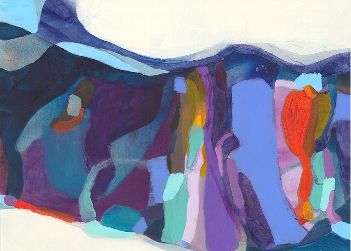 Abstract Greeting Card featuring the painting With Grace by Claire Desjardins