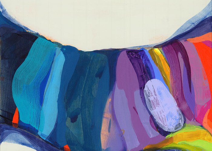Abstract Greeting Card featuring the painting With Joy by Claire Desjardins