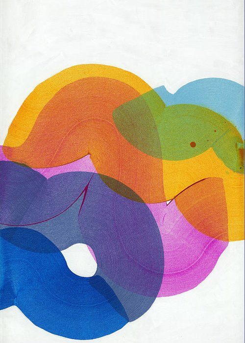 Abstract Greeting Card featuring the painting With Love by Claire Desjardins