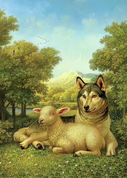 Wolf Laying With A Lamb Greeting Card featuring the painting Wolf Lies Down With The Lamb by Dan Craig