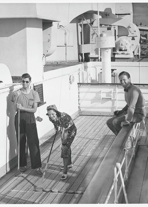 Young Men Greeting Card featuring the photograph Woman And Two Men On Cruiser Deck, B&w by George Marks