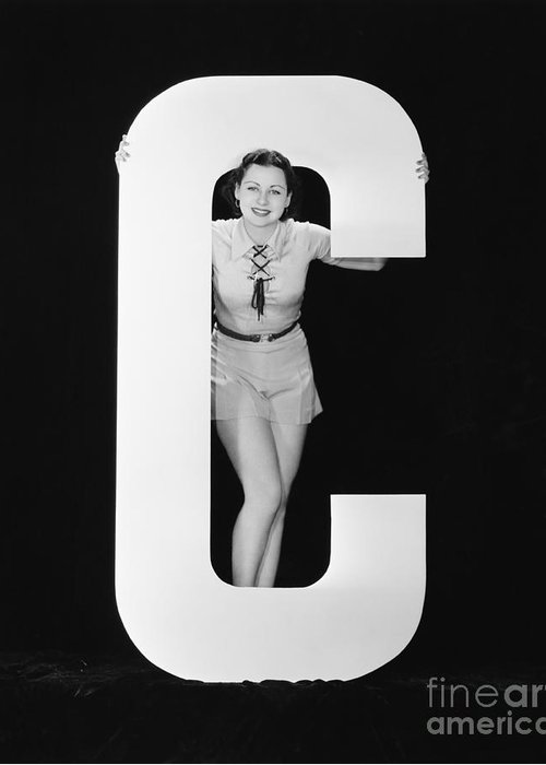 Testimonial Greeting Card featuring the photograph Woman Posing With Huge Letter C by Everett Collection