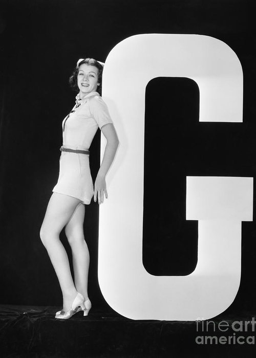 Testimonial Greeting Card featuring the photograph Woman Posing With Huge Letter G by Everett Collection
