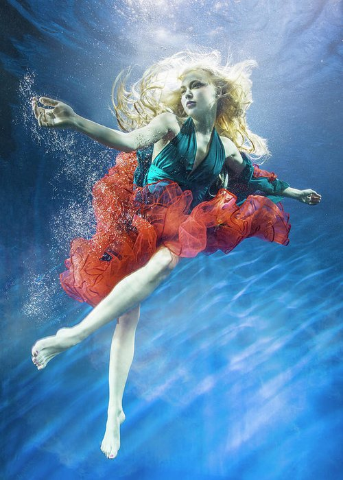 Underwater Greeting Card featuring the photograph Woman Reaching Underwater by Zena Holloway