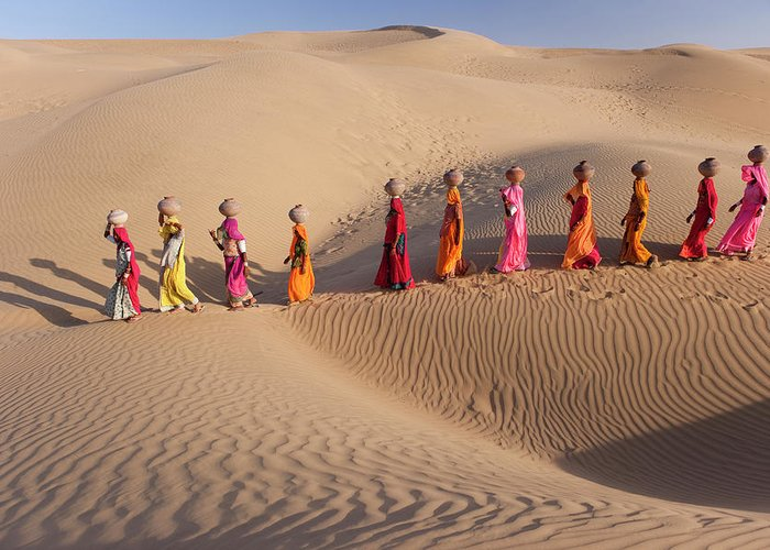 People Greeting Card featuring the photograph Women Fetching Water From The Sparse by Mint Images - Art Wolfe