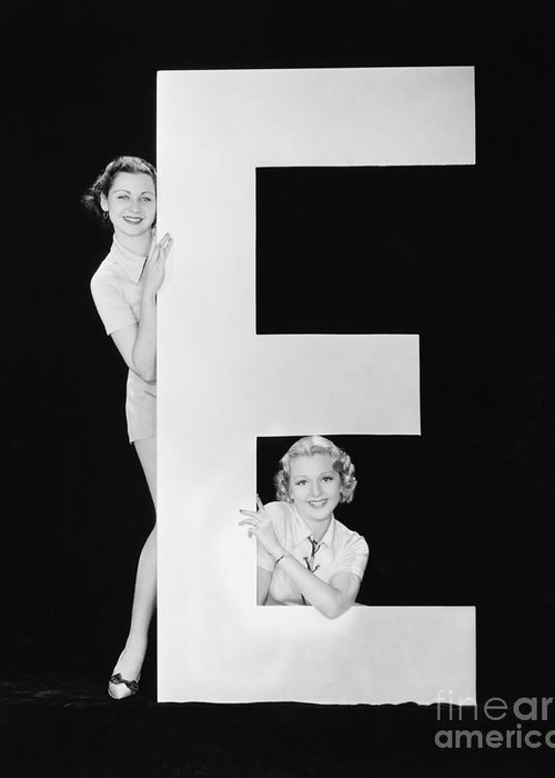 Testimonial Greeting Card featuring the photograph Women Posing With Huge Letter E by Everett Collection