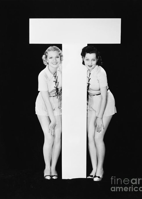 Testimonial Greeting Card featuring the photograph Women Posing With Huge Letter T by Everett Collection
