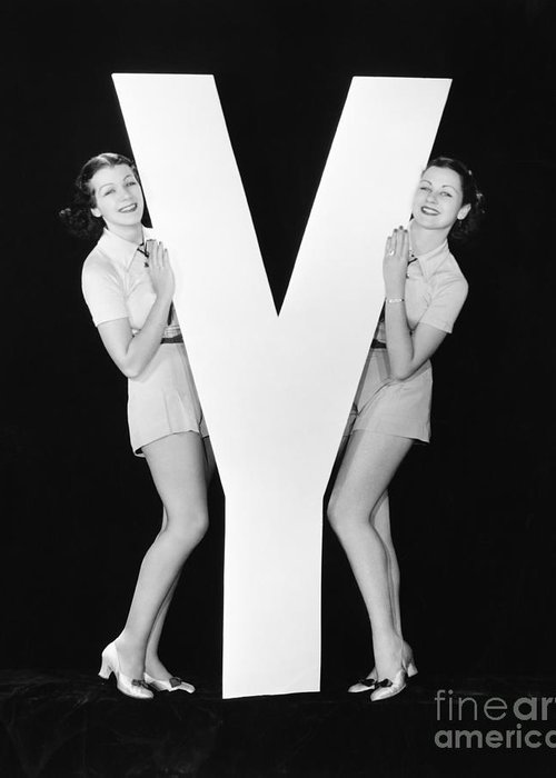 Play Greeting Card featuring the photograph Women Posing With Huge Letter Y by Everett Collection