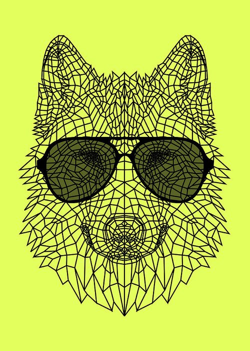 Wolf Greeting Card featuring the digital art Woolf In Black Glasses by Naxart Studio
