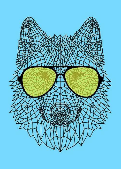 Wolf Greeting Card featuring the digital art Woolf In Yellow Glasses by Naxart Studio